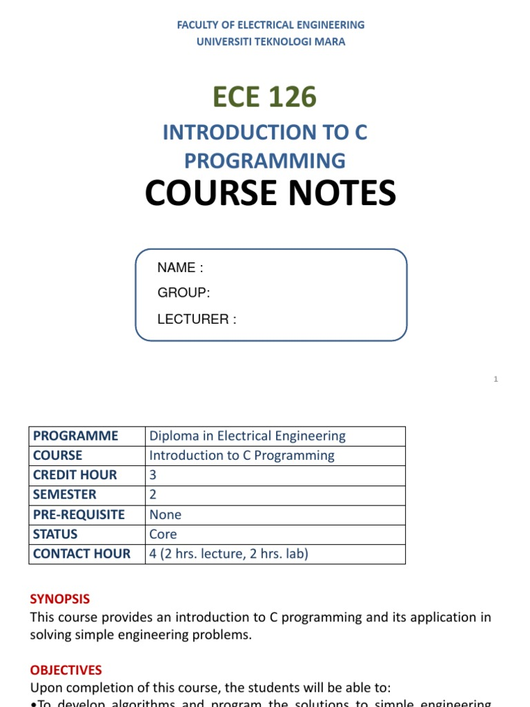 ECE126 SLIDE NOTES_MZH__CH1&2.pdf | C (Programming Language) | Pointer  (Computer Programming)