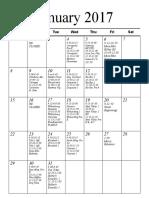Preschool Schedule Jan Feb 2017