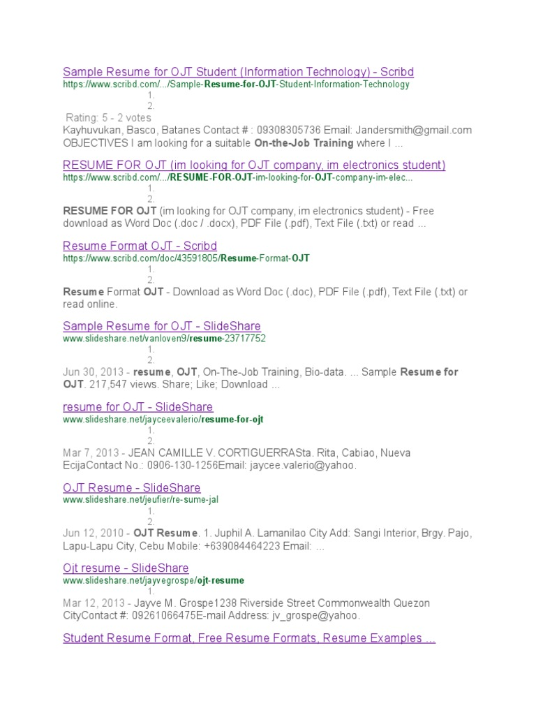 sample resume for ojt student - Samples Of Resume Pdf
