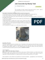Workability of Fresh Concrete by Slump Test