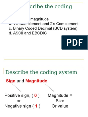 2 1 4 the Coding System | Binary Coded Decimal | Ebcdic