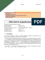Effet Hall Et Magnetoresistance
