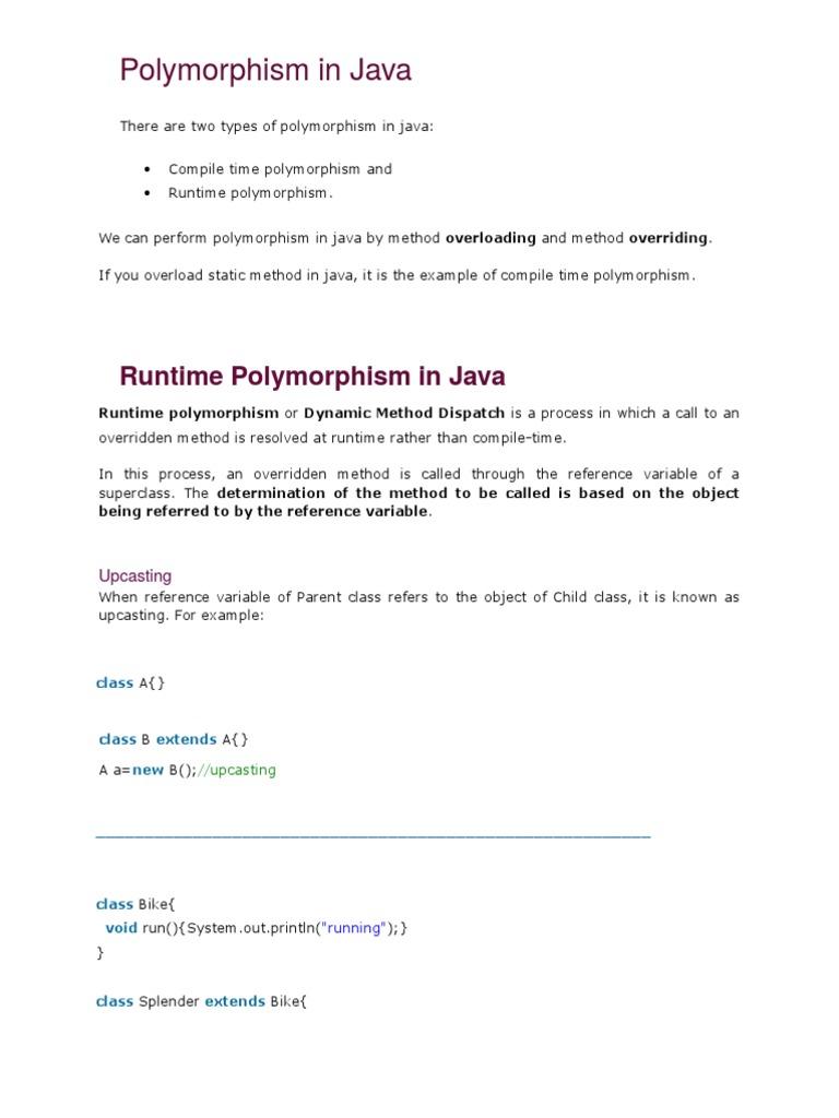 Polymorphism in Java OOP   Method (Computer Programming)   Class