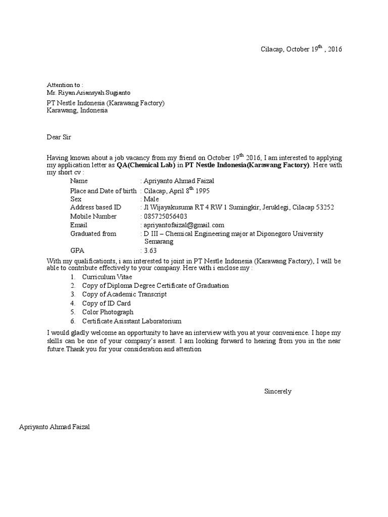 Application Letter Pt Nestle Indonesia Karawang Factory