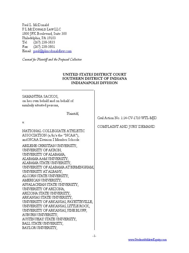 Ncaa Lawsuit | National Collegiate Athletic Association | Fair Labor ...
