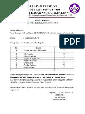 Surat Mandat Bindamping Pramuka