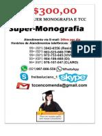 R$350,00 POR QUALQUER TCC E MONOGRAFIA