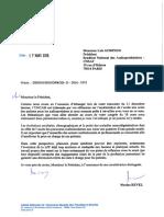Courrier de Nicolas Revel à Luis Godinho