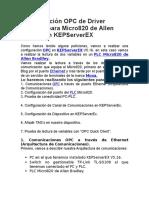Configuración OPC de Driver Ethernet Para Micro820 de Allen Bradley en KEPServerEX