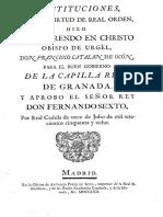 Capilla Real Granada Constituciones