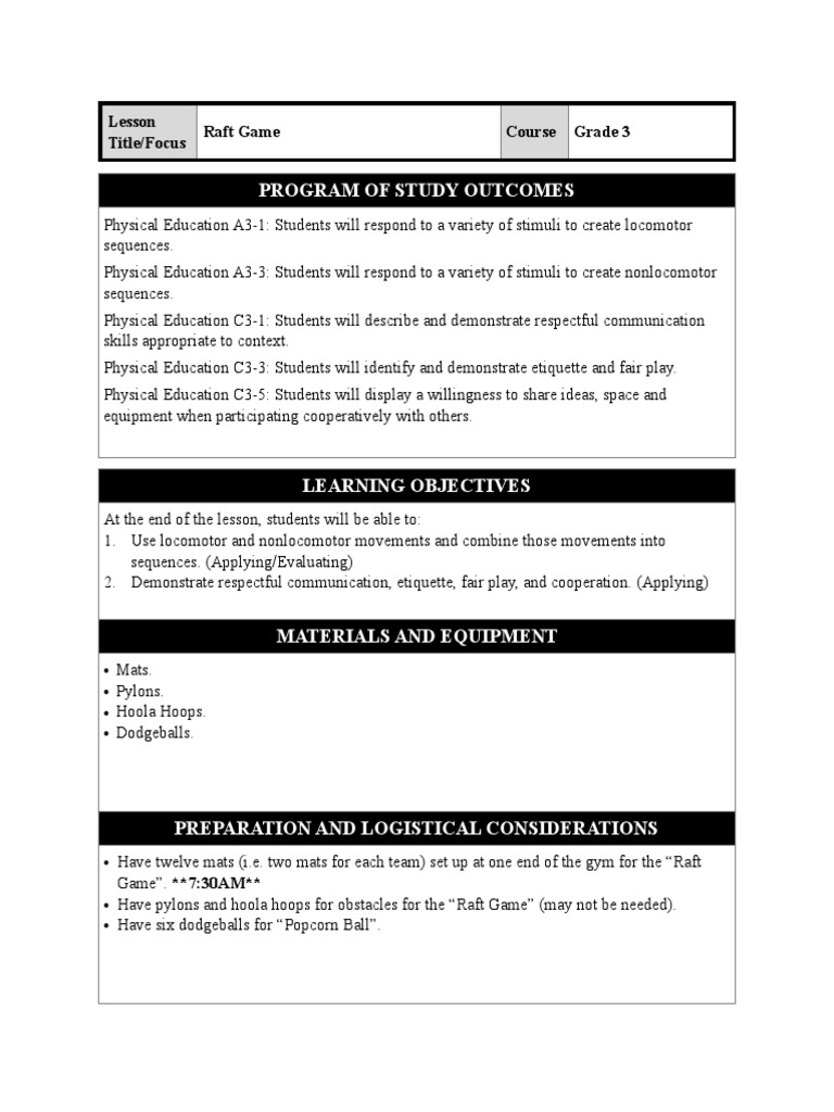 raft game | Physical Education | Epistemology