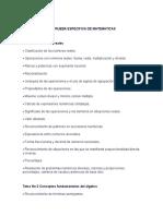 Contenido de La Prueba Especifica de Matematicas y Conociminetos de Computacion