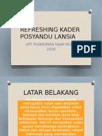 Refreshing Kader Posyandu Lansia