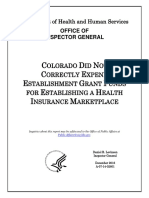 Colorado did not correctly expend establishment grant funds for establishing a health insurance marketplace