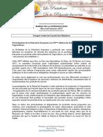 Compte Rendu Du Conseil Des Ministres - Mercredi 4 Janvier 2017