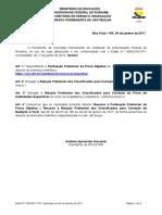 Edital N 002-17-CPV Pontuao Preliminar Da Prova Objetiva e Relao Preliminar de Classificados Para Correo Da Redao - Vestibular 2017