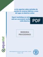Pp. 88. Taller de Expertos Sobre Métodos de Eval. Recursos Hídricos y Usos Del Agua en a.L.