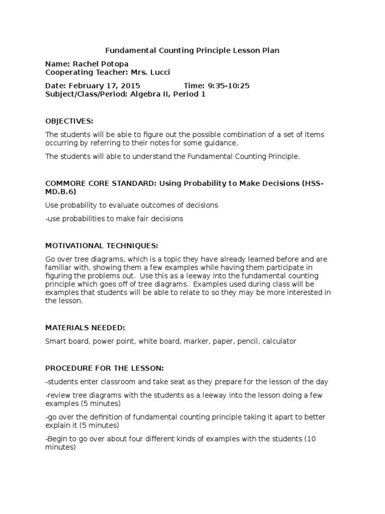 Fundamental Counting Principle Lesson Plan  PDF  Lesson Plan With Regard To Fundamental Counting Principle Worksheet