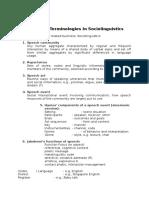 Important Terminology in Sociolinguistics