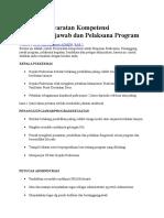 Contoh Persyaratan Kompetensi Penanggung Jawab Dan Pelaksana Program