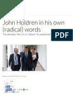 John Holdren in His Own (Radical) Words