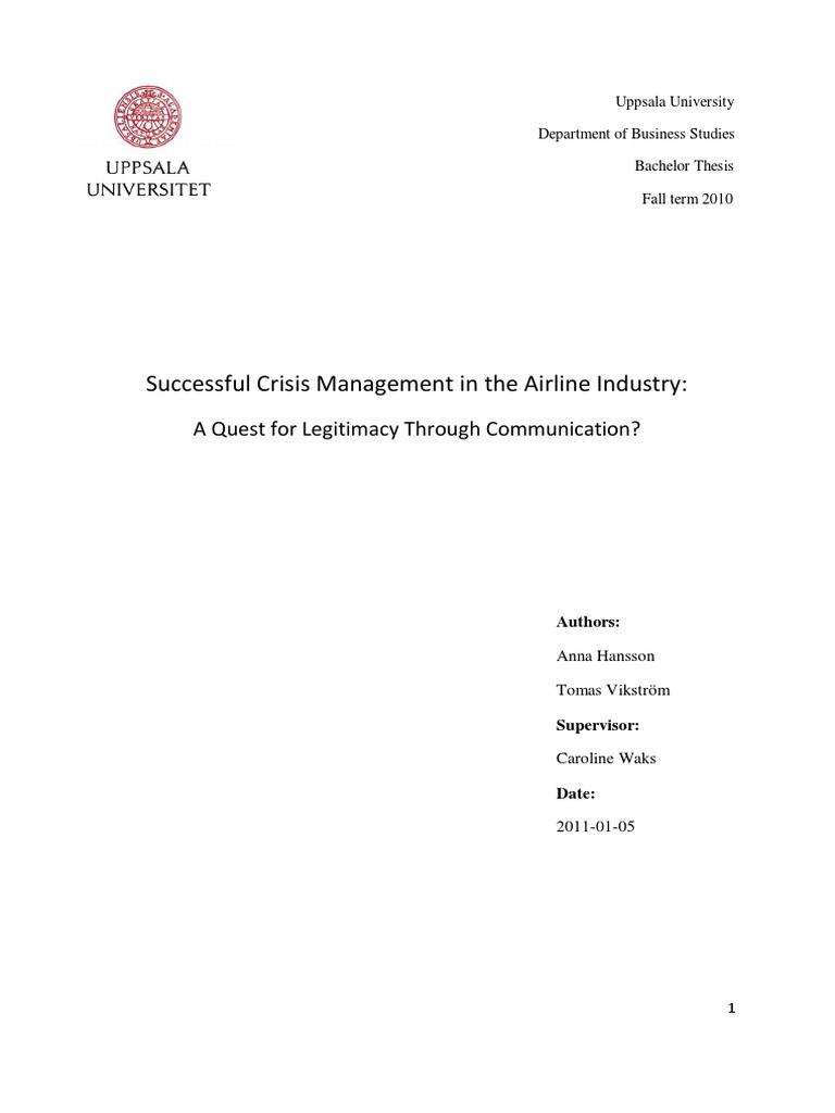 Bachelor thesis crisis communication sample of a business plan for a dance studio