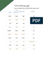 الافعال الشاذة في اللغة الانجليزية Doc PDF
