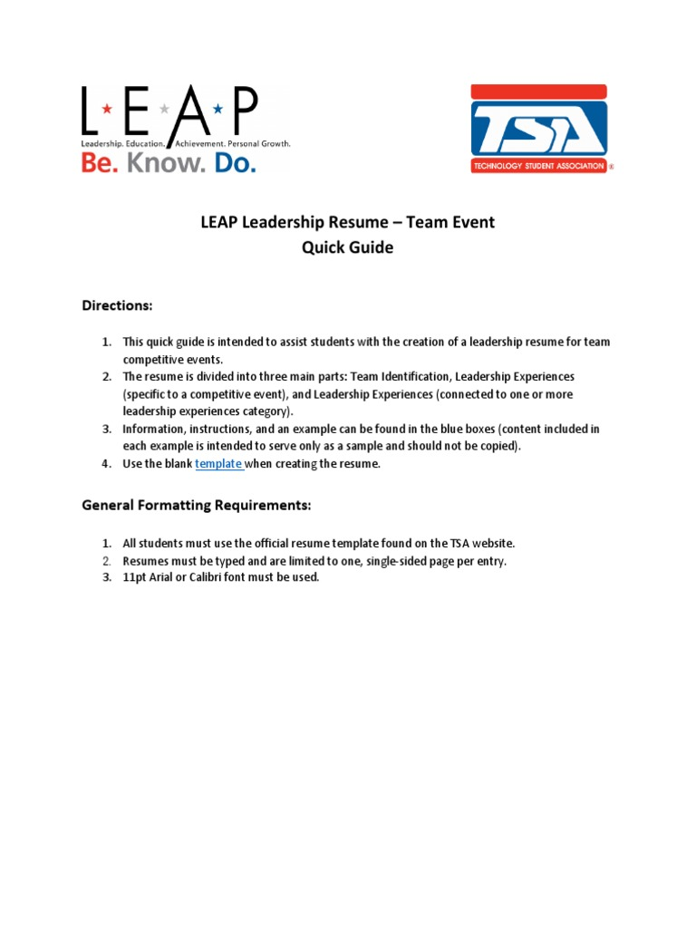 leap ce resume team instructions quick guide résumé leadership