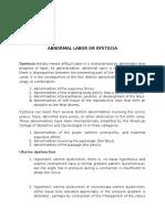 Abnormal Labor or Dystocia