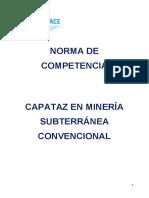 Normas de Competencias del Capataz en minería subterránea convencional