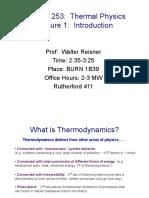 Phys 253 Thermal Physics