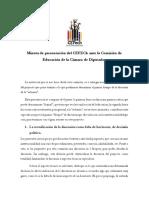 Minuta de Presentación Del CEFECh  Cámara de Diputados (Comisión Educación)