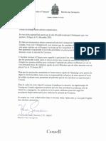 Lettre du ministre fédéral fes Transports aux compagnies aériennes