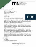 UTA Letter Uber Driverless Cars