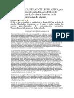 Sobre La Proliferación Legislativa