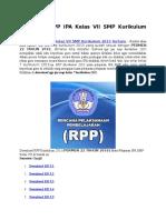 RPP IPA Kelas VII SMP Kurikulum 2013 Terbaru