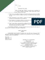 Affidavit of Loss SSS ID