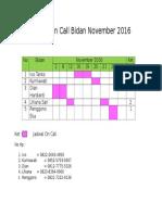 Jadwal on Call Bidan November 2016