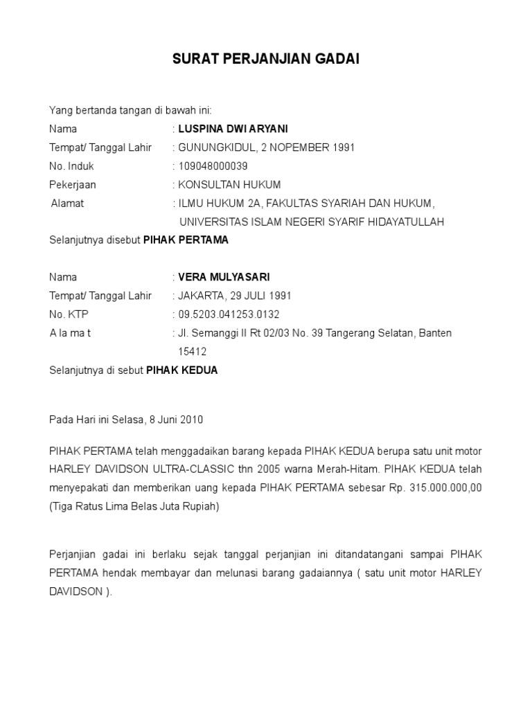 Contoh Surat Perjanjian Gadai Motor Surat 31