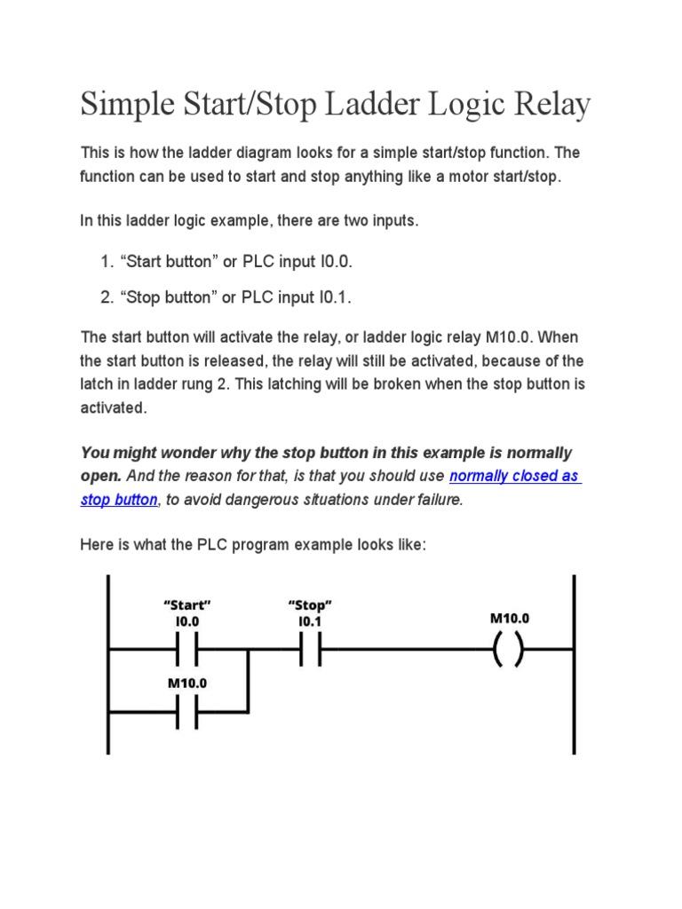 Start Stop Ladder Diagram Schematics Logic Wiring Plc Programming Basics Timer Programmable Controller Motor Control Diagrams