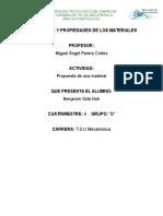 Propuesta de propiedades de los materiales