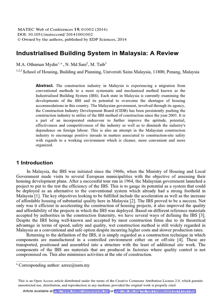 the method of ibs and conventional system construction essay With the success of modern methods of construction, ibs is expected to   keywords: industrialized construction, industrialized building system, modern  method of  increasingly serious as a result of using conventional construction  methods,.