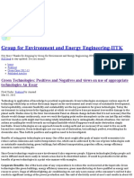 Green Technologies_ Positives and Negatives and Views on Use of Appropriate Technologies an Essay - Group for Environment and Energy Engineering-IITK