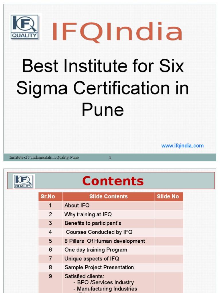 Ifqindia Best Institute For Six Sigma Certification In Pune Six