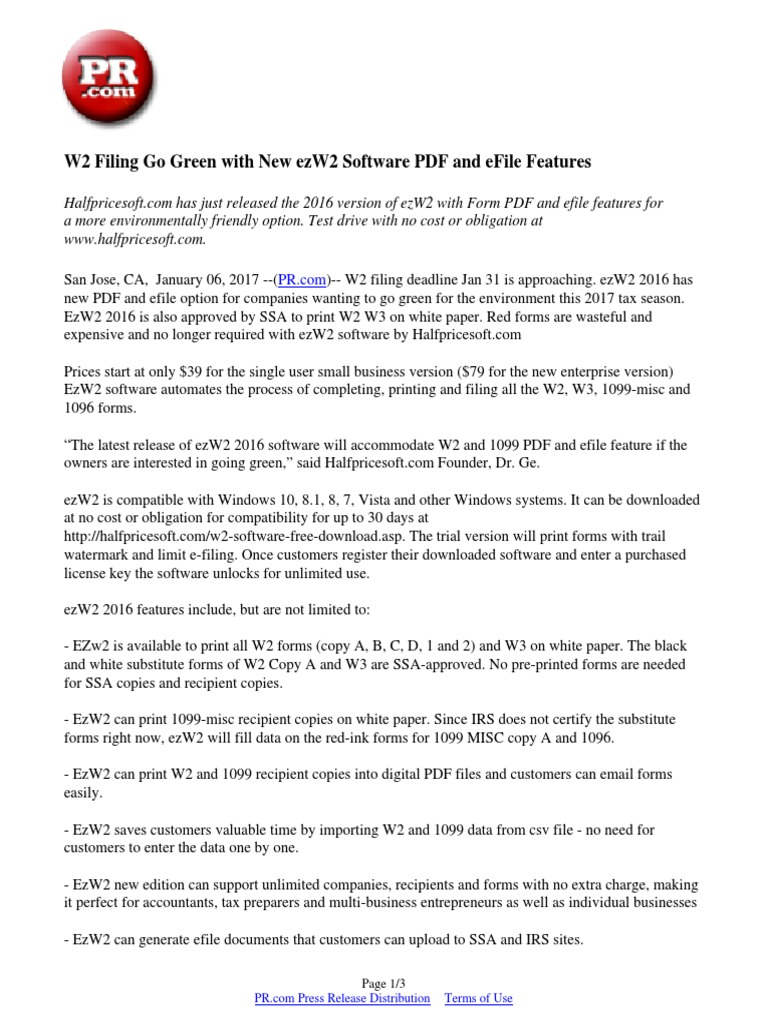 W2 Filing Go Green with New ezW2 Software PDF and eFile