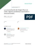 La Denominación de Origen Pisco en Chile Algunos Problemas Nacionales e Internacionales