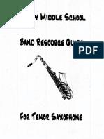 Tenor Sax Resource Guide