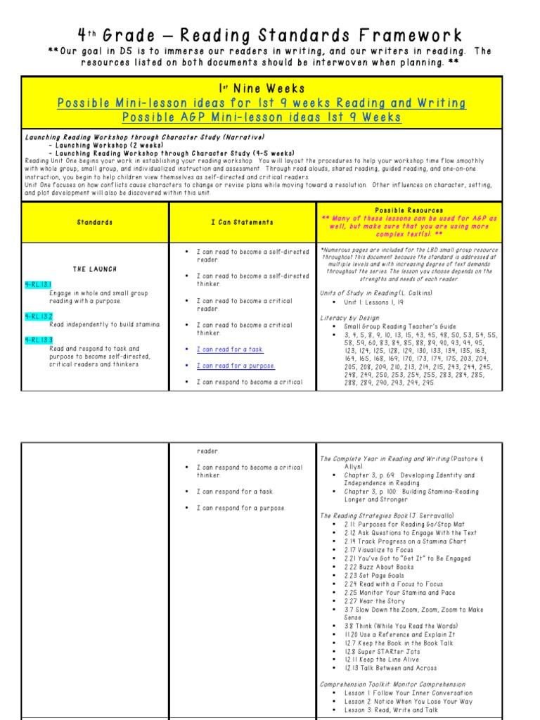 4th Grade Reading Framework   Reading Comprehension ...