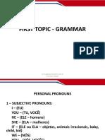 Aula 01 Gramatica Pronome Sujeito e Objeto