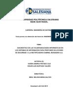 Diagnostico de Las Vulnerabilidades Informaticas en Los Sistemas de Informacion Para Proponer Soluciones de Seguridad a La Rectificadora Gabriel Mosquera SA
